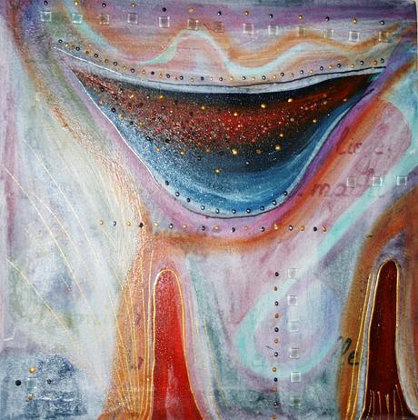 Artigkeit, Claudia Karrasch, Bonn, Malen, Abstrakte Malerei, Kunst, Studio, Glasbaustein 1, Acryl, Lasurtechnik, Perlen, Mosaiksteinchen, etc., 40 x 40 cm, Mai 2009
