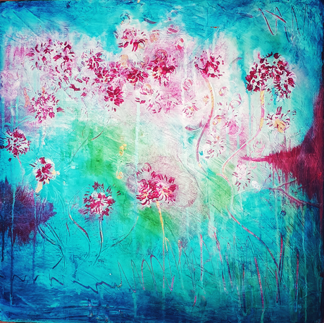 Artigkeit, Claudia Karrasch, Studio, Bonn, Malen, Kunst, Abstrakte Malerei, Intensive 1, Goldfolie, Acryl, auf Leinwand, 50 X 50 cm