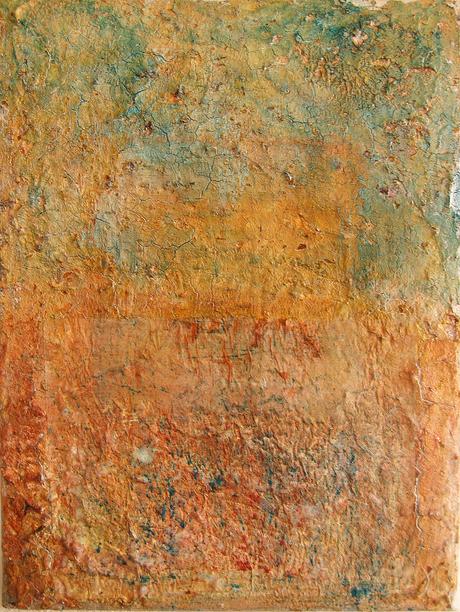 Artigkeit, Claudia Karrasch, Bonn, Abstrakte Malerei, Krakeliermedium, Acryl, Bäckerseide, Pigmente, Bienenwachs, auf Leinwand, 20 X 40 cm