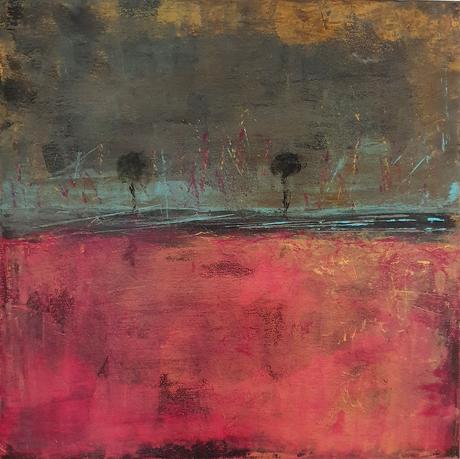 Artigkeit, Claudia Karrasch, Bonn, Malen, Abstrakte Malerei, Into the distance, Acryl, Ölkreide, auf Leinwand, 50 X 50 cm