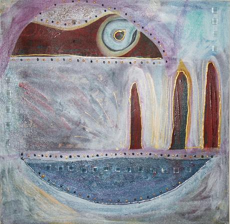 Artigkeit, Claudia Karrasch, Bonn, Malen, Abstrakte Malerei, Kunst, Studio, Glasbaustein 2, Acryl, Lasurtechnik, Perlen, Mosaiksteinchen, etc., 40 x 40 cm, Mai 2009