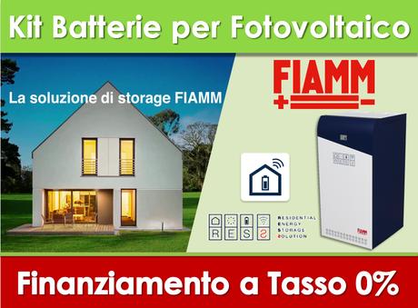 Kit Fiamm Batteria Gel da 12,5KW per fotovoltaico già esistente prezzo chiavi in mano finanziamento a tasso zero