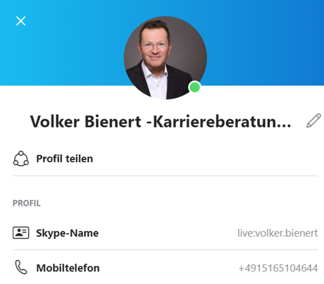 Skype-Kontakt von Volker Bienert von der Karriereberatung München für berufliche Neuorientierung
