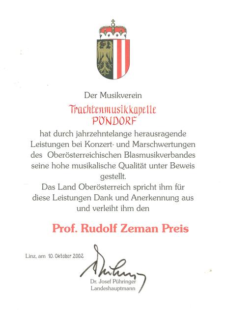 Prof. Rudolf Zeman Urkunde TM Pöndorf