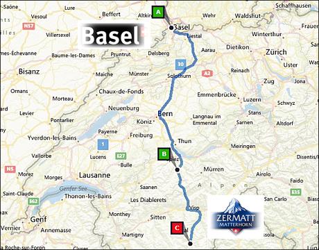 info@taxizermatt.ch Route Basel (Basle) Euroairport - Zermatt
