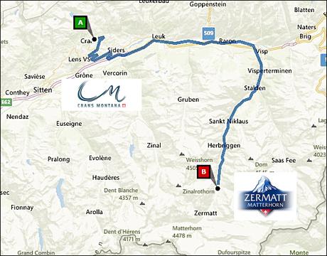 info@taxizermatt.ch Route Crans Montana - Zermatt