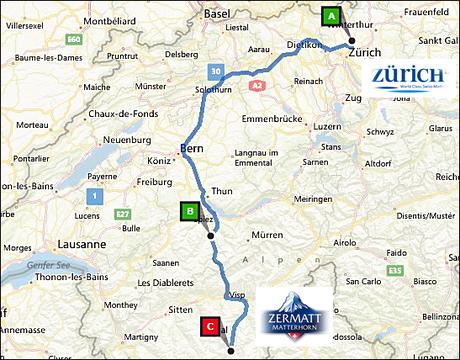 info@taxizermatt.ch Route Zürich Kloten - Zermatt