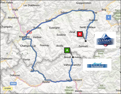 info@taxizermatt.ch Route Cervinia - Zermatt