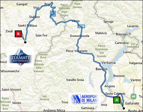 info@taxizermatt.ch Route Milano Malpensa - Zermatt