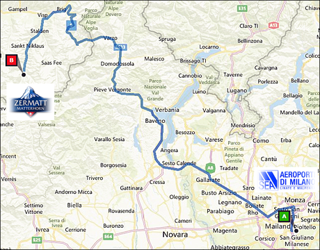 info@taxizermatt.ch Route Milano (Mailand) Linate - Zermatt