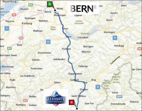 info@taxizermatt.ch Route Bern Belp - Zermatt
