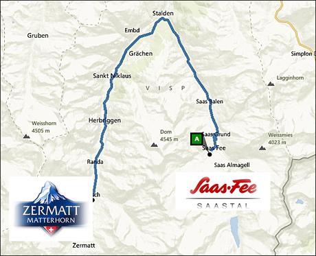 info@taxizermatt.ch Route Saas Fee - Zermatt