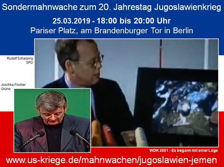 Berlin, 25.03.2019 - Sondermahnwache für Frieden zum 20. Jahrestag Jugoslawienkrieg