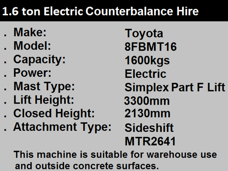 1.8 ton Electric Forklift Hire in Kent and Sussex