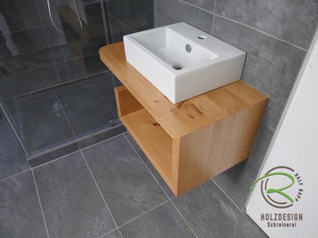 Eiche Massivholz Waschtisch für Aufsatzbecken zwischen Zimmertür & Duschabtrennung, Handtuchfach, mit Hartölwachs biologische Oberfläche