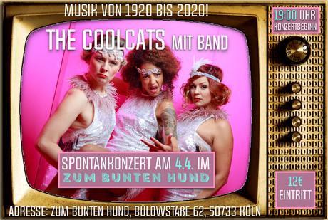"""Flyer der Kölner Band Lou's THE COOL CATS für einen Auftritt im """"Zum bunten Hund"""""""