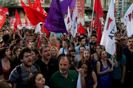 Venstrefløjsalliancen SYRIZAs demonstrationsblok