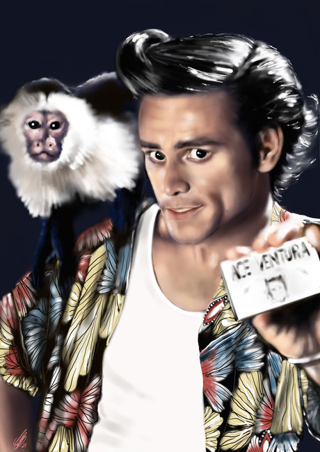 "Jim Carrey ""Ace Ventura"", digital art, procreate, 2021"