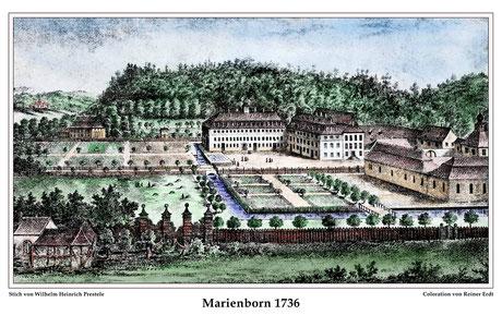 Schloss Marienborn: Residenz der Grafen von Ysenburg-Büdingen-Marienborn, 1736; mit freundlicher Erlaubnis von Rainer Erdt, der den Stich coloriert hat
