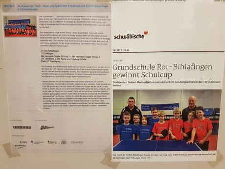 GS Dettingen wird mit den Spielern Arne Stützle, Marco Schlager, Julian Ruf und Lara Kübler Zweiter im Schulcup. Quelle: Schwäbische Zeitung 19.01.2017