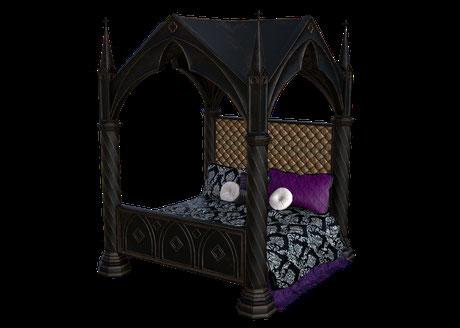 """Das unheimliche Himmelbett in """"König Karls Gemach"""". Jeden morgen ist es unordetnlich, als ob jemand drin geschlafen hätte und dass, obwohl der Raum immer von außen verschlossen ist. Die Gesichter sind Nachbildungen der Totenmasken von Karl ll."""