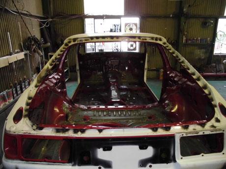 AE86 スポット増し リヤハッチ開口部 補強