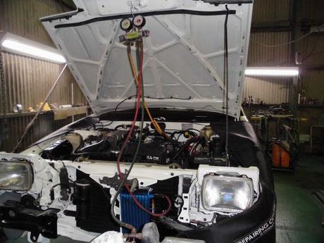 AE86 トレノ クーラー真空引き