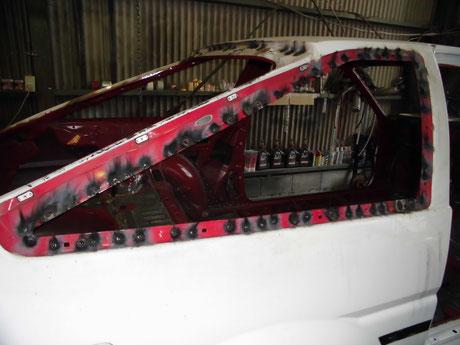 AE86 ボディ補強 クォーターガラス開口部