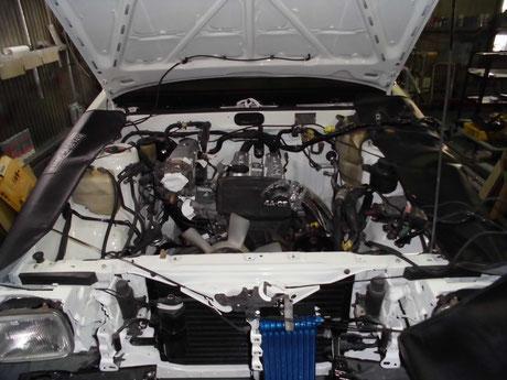 AE86トレノ エンジン取付け