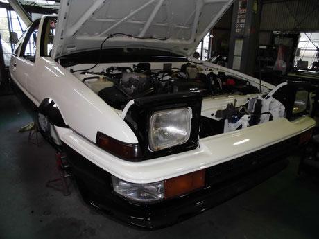 AE86 トレノ ヘッドライトカバー取り付け