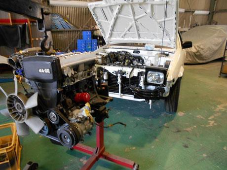 AE86トレノ レストア リビルトエンジン