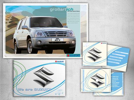SUZUKI Broschüre und doppelseitige Anzeige (Entwurf), CD für Händler