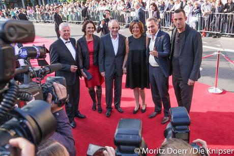 (v.l. n.r.) Michael Kissel Oberbürgermeister, Kathrin Anklam-Trapp SPD, Gatten und Ministerpräsidentn RLP Malu Dreyer auf dem roten Teppich in Empfang genommen.
