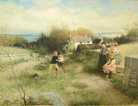 George Henry Boughton  'St Ives Bay' (RA 1882) (aka 'The Wrestling Match')