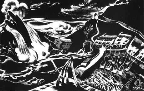 Arthur Wragg  'Storm, Polperro' (Christmas card)