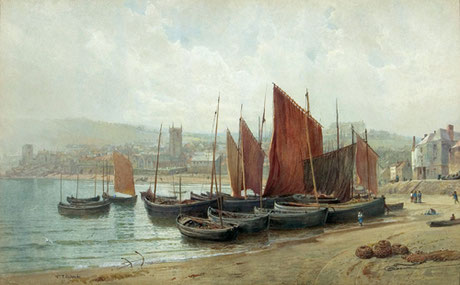 William Trost Richards    Fishing Boats, St Ives    (1880)