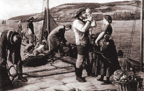 James Clarke Hook  'Leaving Cornwall for the Whitby Fishing'  (RA 1861)