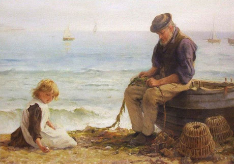 Edith Hume  'Mending Nets'  (possibly a St Ives scene)