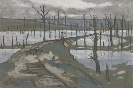 Ernest Procter  'Albert - Switch line to the Bapaume Road' (Government Art Collection)
