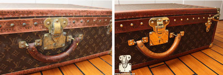 Alzer 65 Louis Vuitton suitcase from  1990,  restoration in our workshops of the leather handle destroyed by the humidity of a cellar. read more...