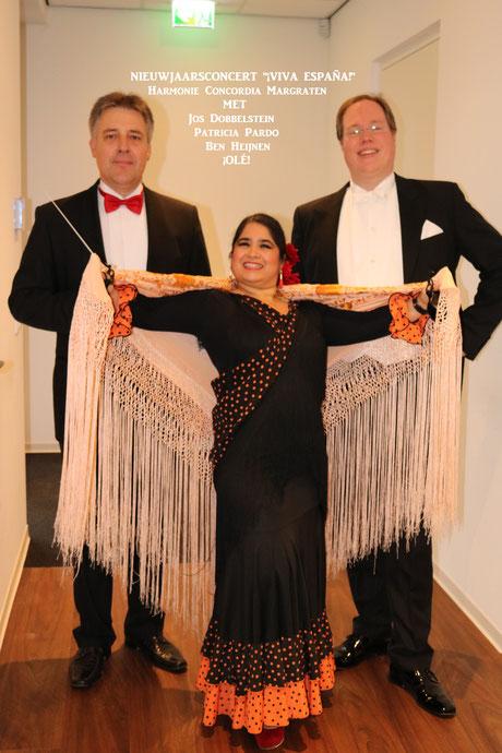 Patricia Pardo, Studio España, Flamenco, Flamenco danseres, Ben Heijnen, Tenor, Jos Dobbelsteijn, dirigent, Harmonie Concordia Margraten, Nieuwjaarsconcert, Viva España.