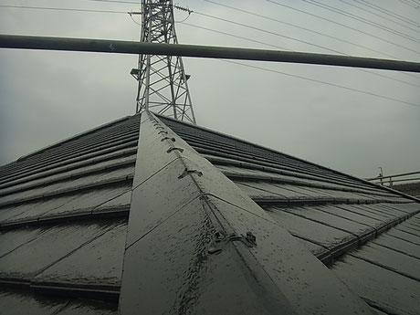 熊本市K様家の屋根塗装完成を接写で撮影。カラーブラックシルバー