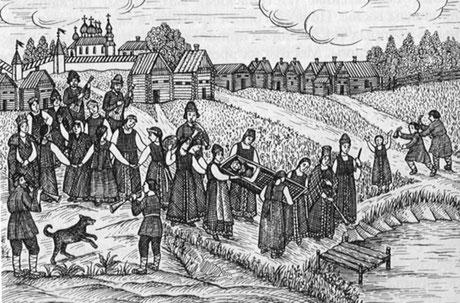 Die Beerdigung der Kostroma. Quelle Wikipedia (Bild verlinkt) Volkszeichnung aus dem 19.Jh.