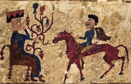 Sitzende Göttin Tabiti und skythischer Reiter. Wandmalerei aus dem Altai ca. 240 v.Chr. Bildquelle Wikipedia (Bild verlinkt)
