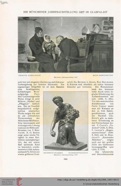 Bronzefigur bei der Münchner Jahresausstellung 1907  (Bild verlinkt zu Quelle)