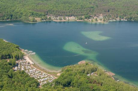 Luftbild über dem Süßen Winkel am Werbellinsee / Barnim Fun Diver