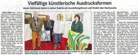 Artikel vom 11.11.2015 über Galerie des Vereins Zeit-Kunst