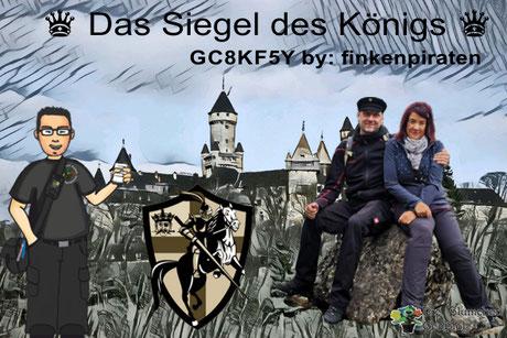 Teaser für den Geocache, Das Siegel des Königs GC8KF5Y mit Abbildung des Schloss Braunfels und den finkenpiraten