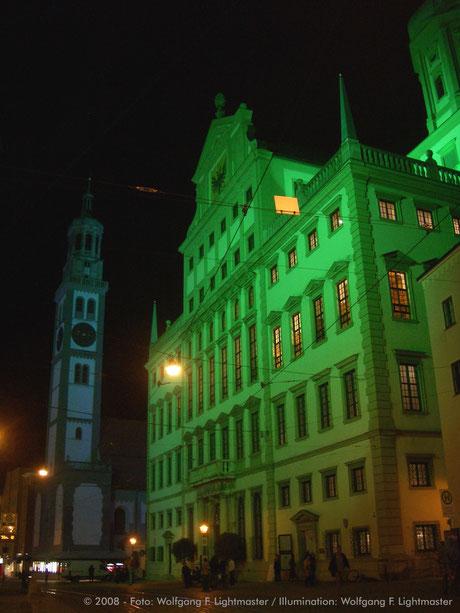 Stadtillumination - Illumination - Rathaus, Perlachturm Stadt Augsburg © 2008 - Foto: Wolfgang F. Lightmaster / Illumination: Wolfgang F. Lightmaster