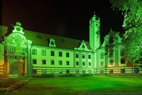 """Illumination Stadt Augsburg - Fronhof - """"Augsburg strahlt"""" Stadtillumination Augsburg 05.08. bis 09.08.2015 © 2015 - Foto: Norbert Liesz / Illumination: Wolfgang F. Lightmaster"""